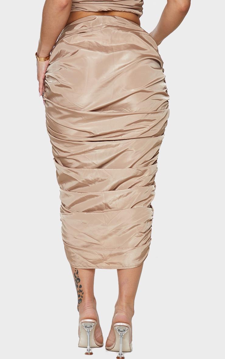 Shape Stone Nylon Extreme Ruched Midi Skirt 3