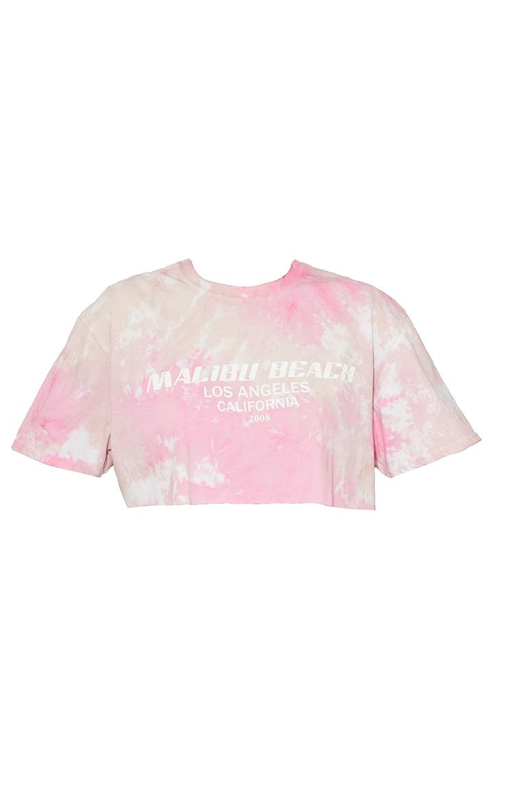 Pink Malibu Print Tie Dye Crop T Shirt 5