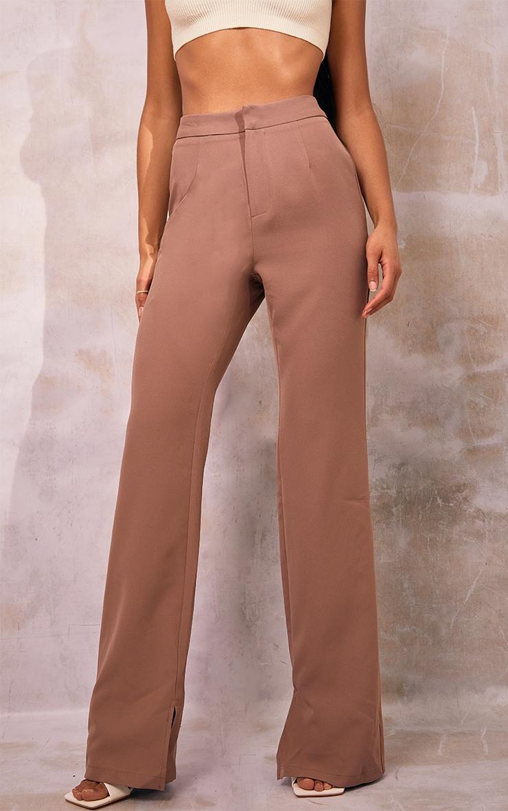 Mocha Split Hem Wide Leg Suit Trousers 2