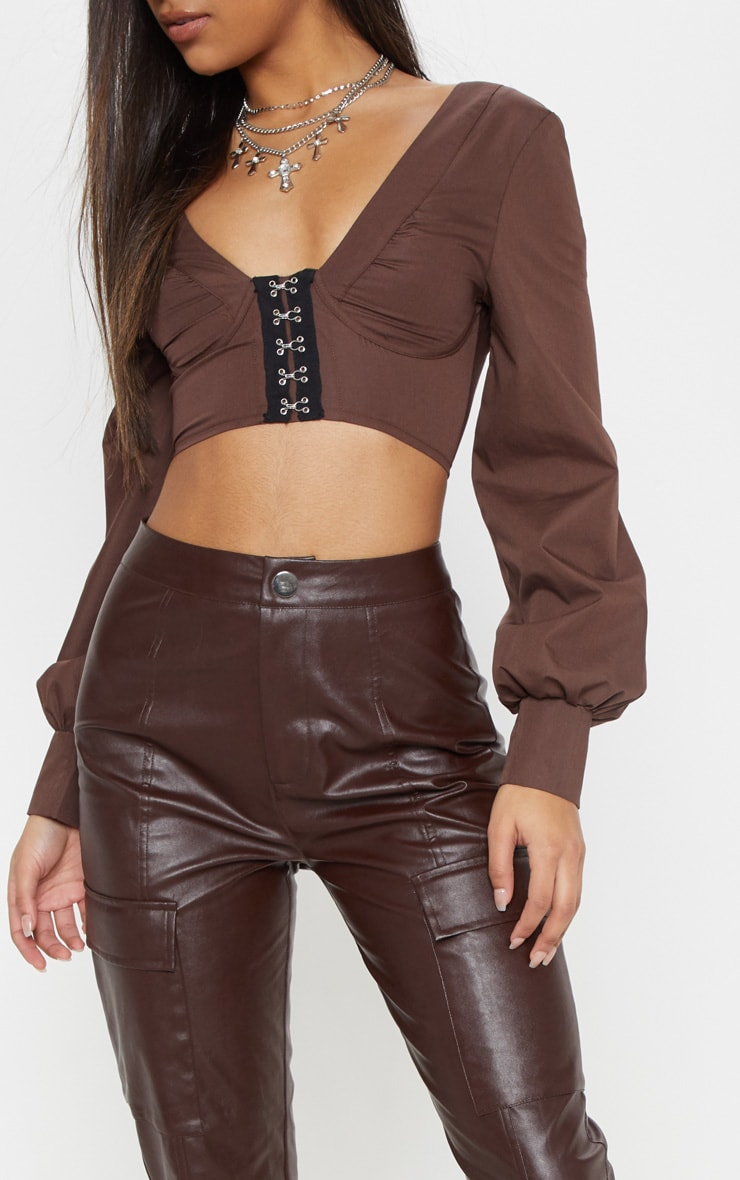 Chocolate Faux Leather Cargo Pocket Straight Leg Trouser  5