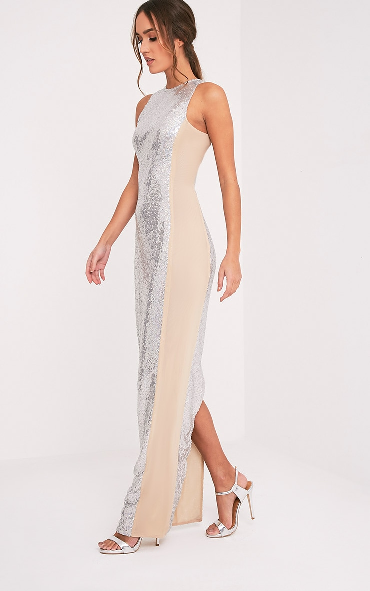 Carsie Silver Sleeveless Sequin Maxi Dress 5