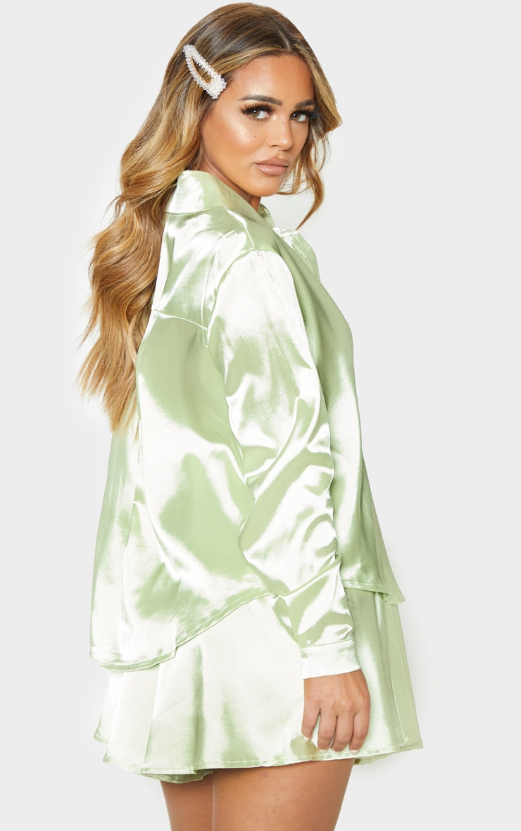 Petite Light Lime Satin Shirt 2