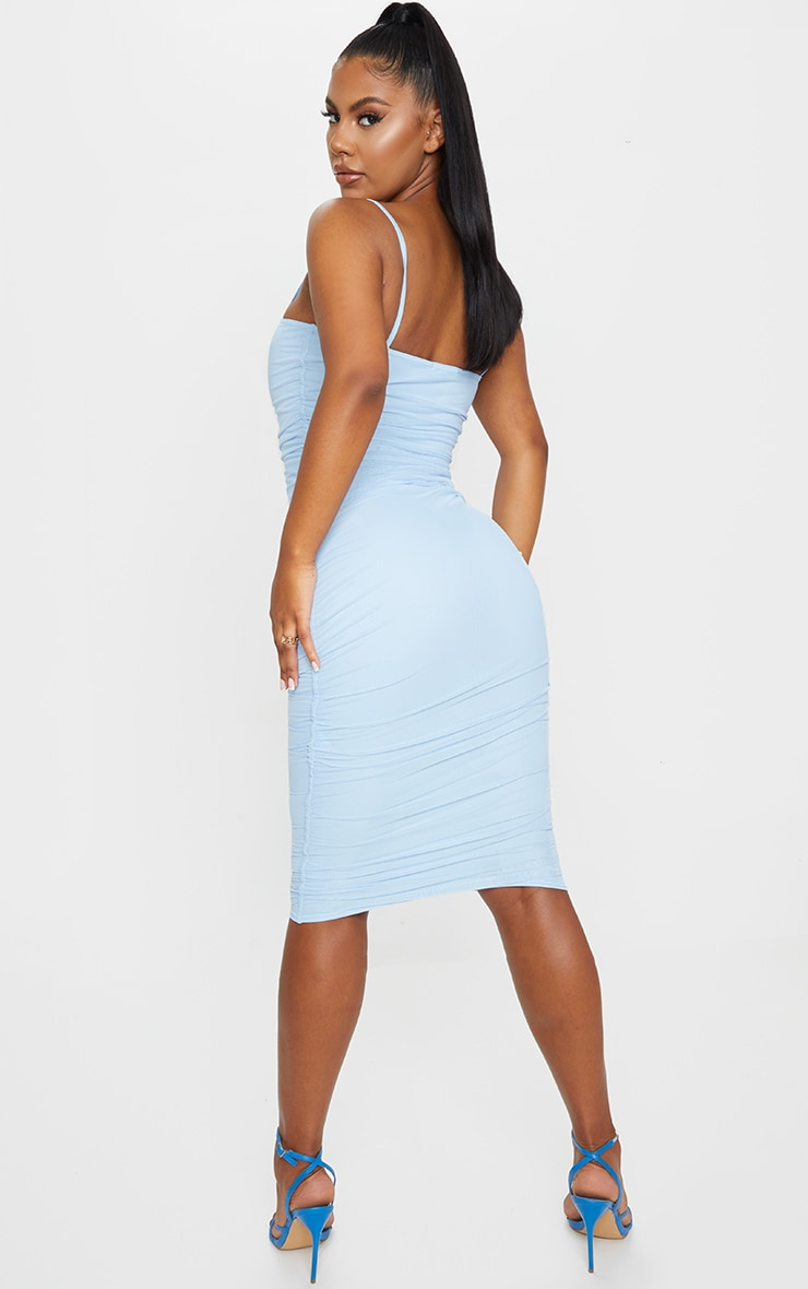 Baby Blue Strappy Mesh Midi Dress 2