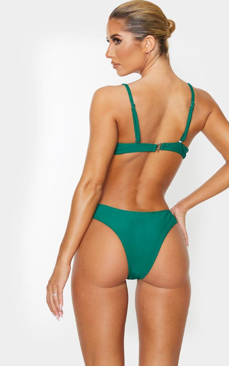 Emerald Green Underwired Plunge Bikini Top 2
