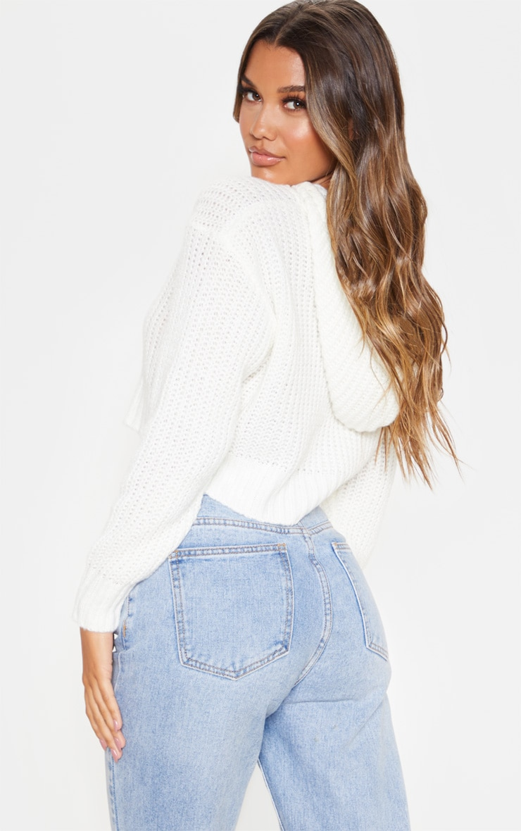 Ivory Knitted Cropped Hoodie 2