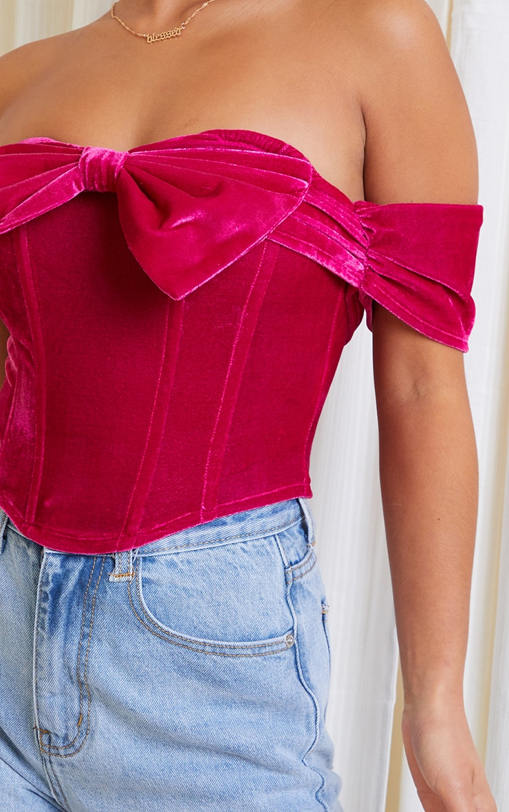 Petite Fuchsia Velvet Bow Detail Corset 4
