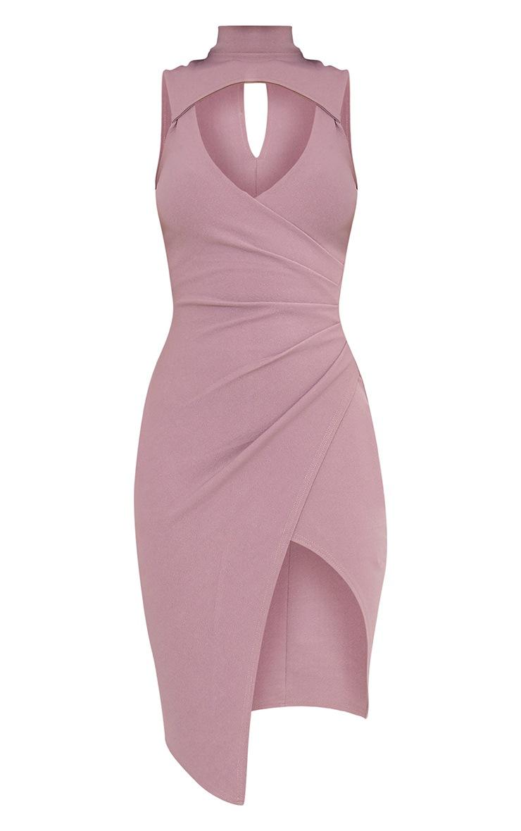 Laverna Dark Mauve High Neck Cut Out Wrap Over Midi Dress 3