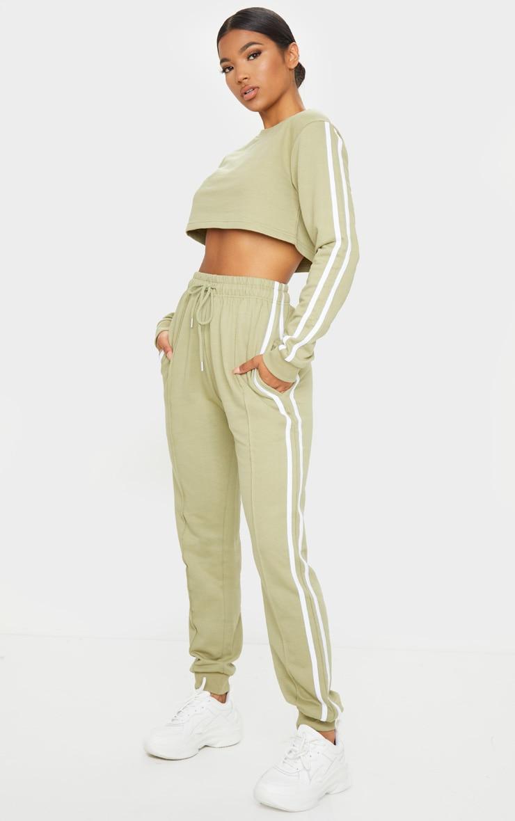 Sage Green Double Stripe Side Crop Sweater 3