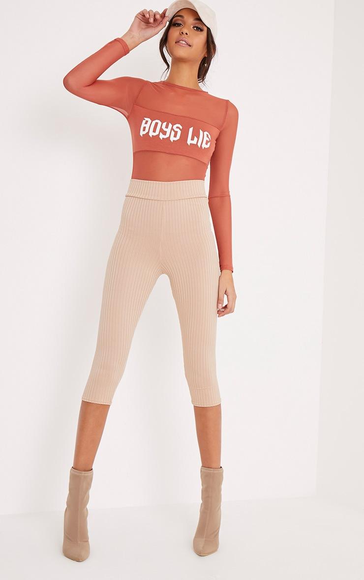 BOYS LIE Slogan Deep Peach Mesh Thong Bodysuit 6