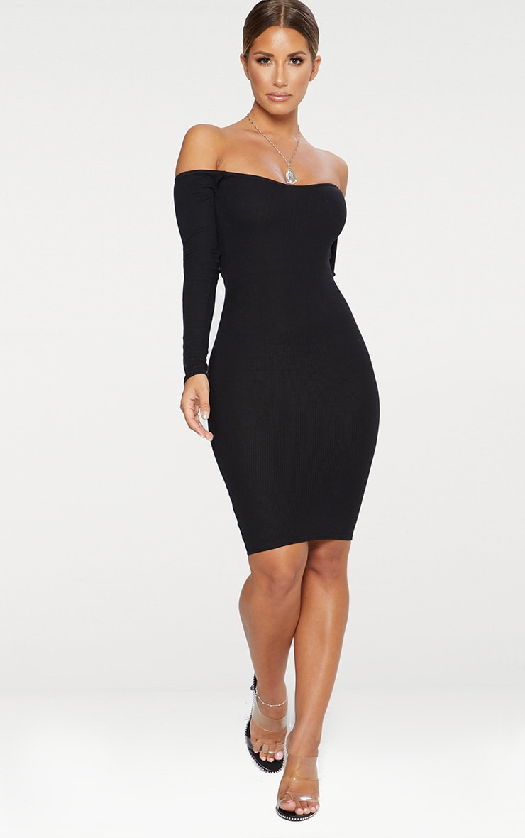 Black Bardot Ribbed Long Sleeve Midi Dress 3