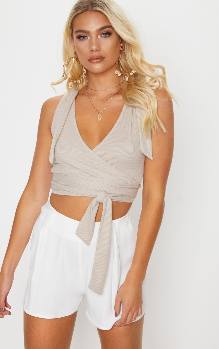 Stone Rib Tie Strap Wrap Top