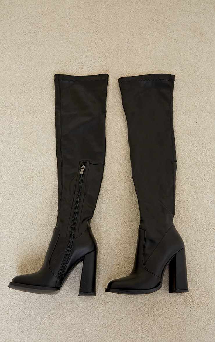 Black PU Edge High Heeled Over The Knee Boots 3