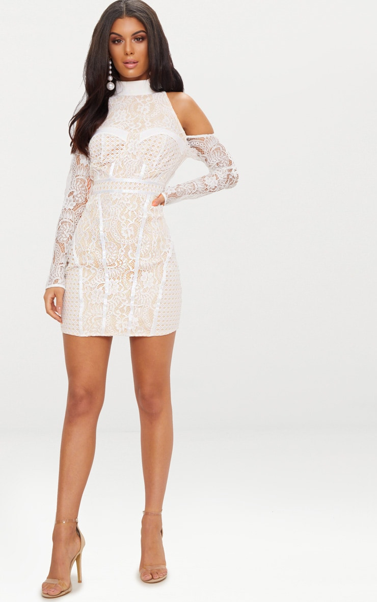 White Cold Shoulder Lace Panelled Bodycon Dress 4
