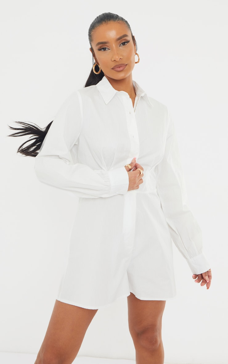 White Cotton Poplin Flared Short Shirt Romper 1