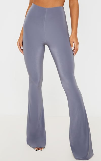 Charcoal Flare Ruched Bum Slinky Trouser