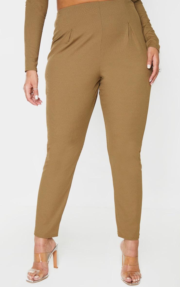 Plus Khaki Rib High Waist Skinny Trousers 2