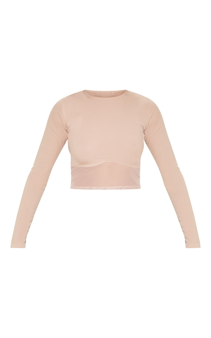 Nude Long Sleeve Mesh Trim Rib Crop Top 3