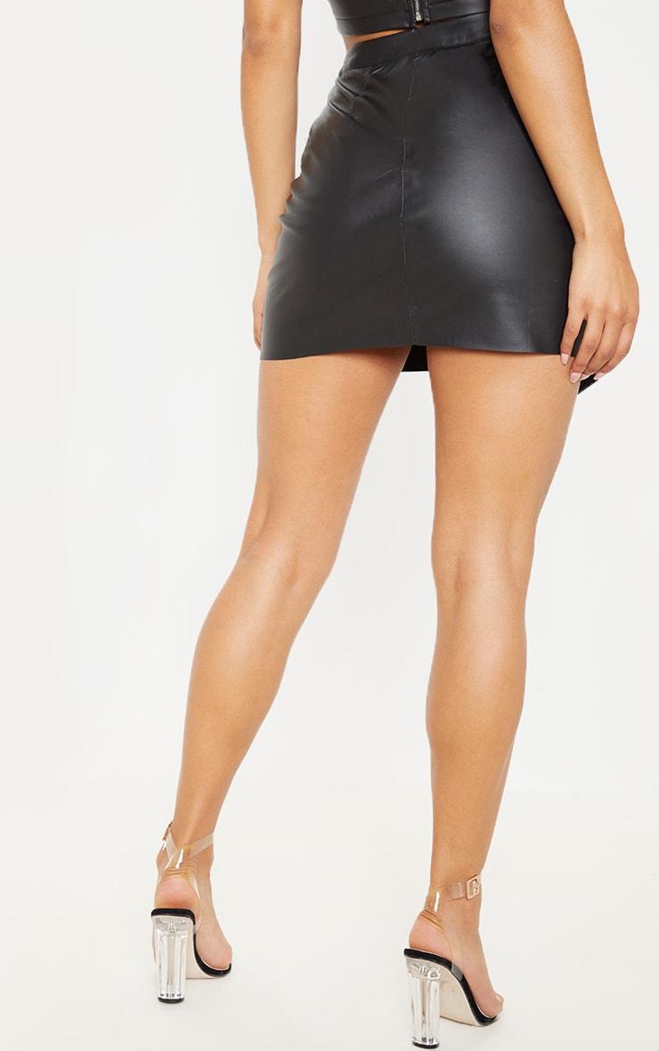 Mini-jupe style portefeuille en similicuir noir 4