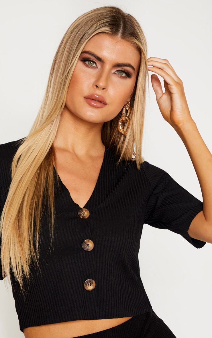 Tall Black Tortoise Button Rib Top 5