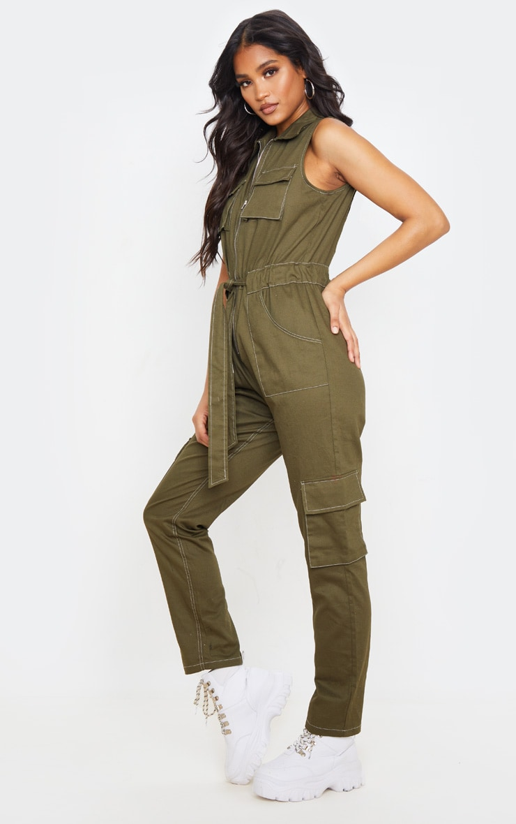 Khaki Zip Through Pocket Detail Utility Jumpsuit 4