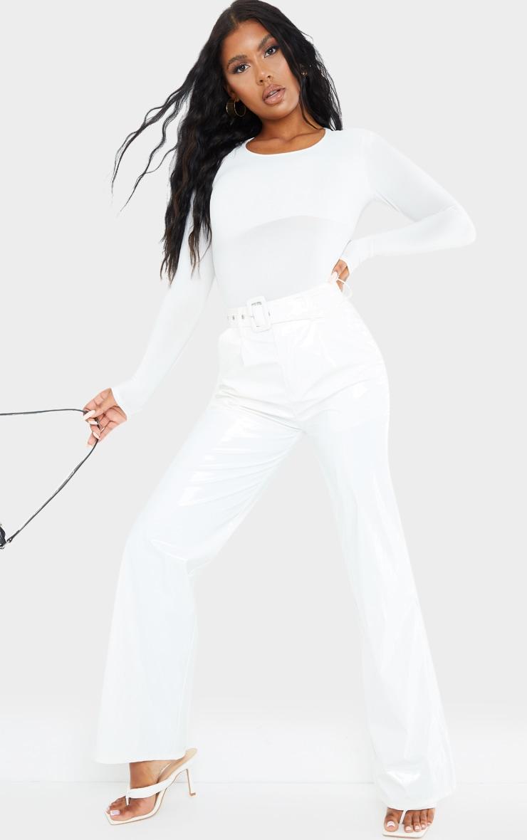 White Slinky Shoulder Pad Long Sleeve Bodysuit 3