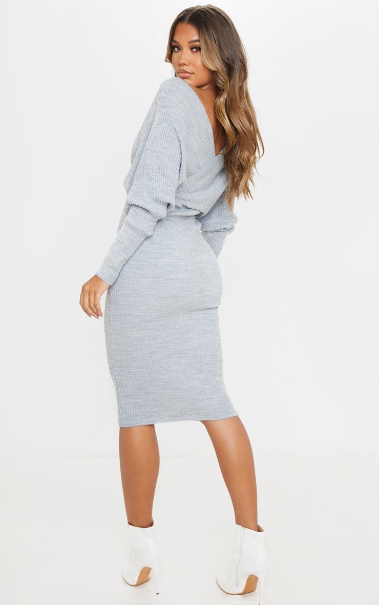 Grey Wrap Off The Shoulder Midi Dress 2
