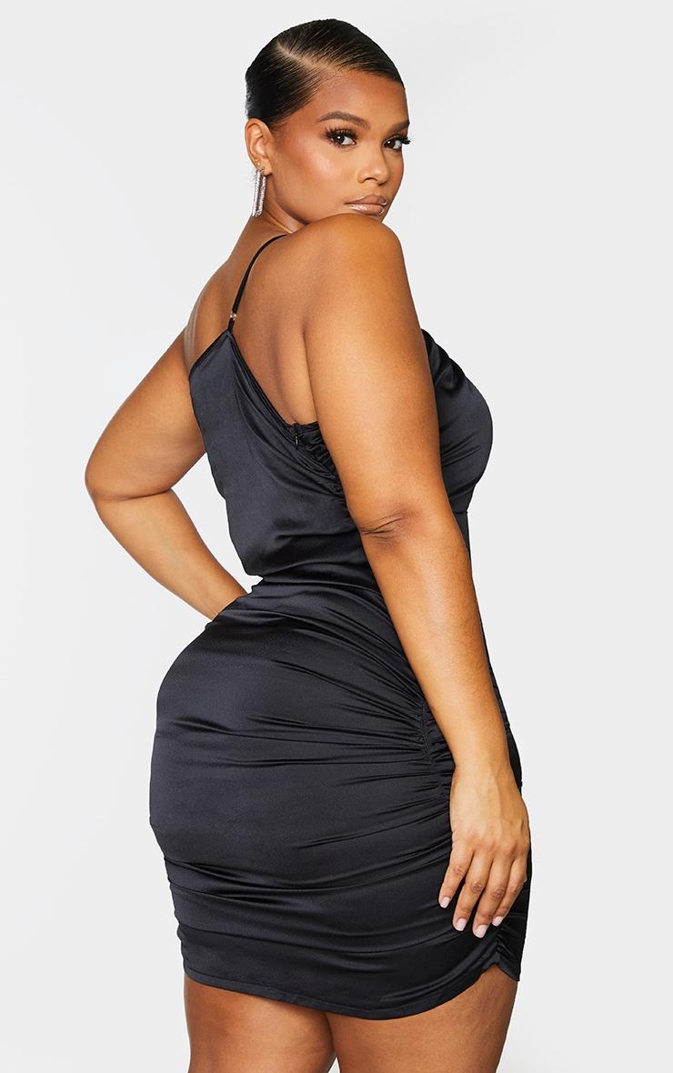 Plus Black Satin Asymmetric Bodycon Dress 3