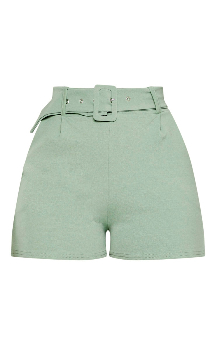 Sage Green Belted Tailored Short  3