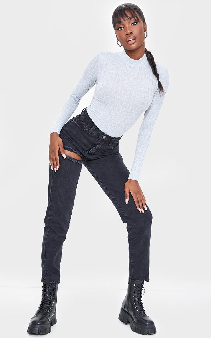 Tall Grey Wide Rib Shoulder Pad Long Sleeve Bodysuit 3