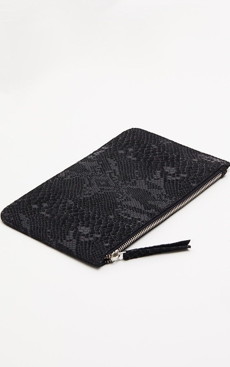 Black Real Leather Croc Clutch Bag 2