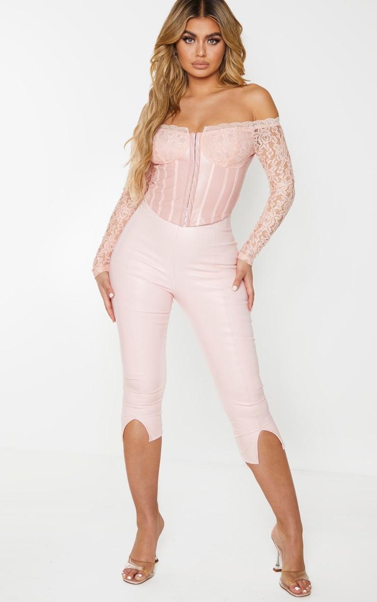 Nude Lace Bardot Long Sleeve Pu Bodice Blouse 3