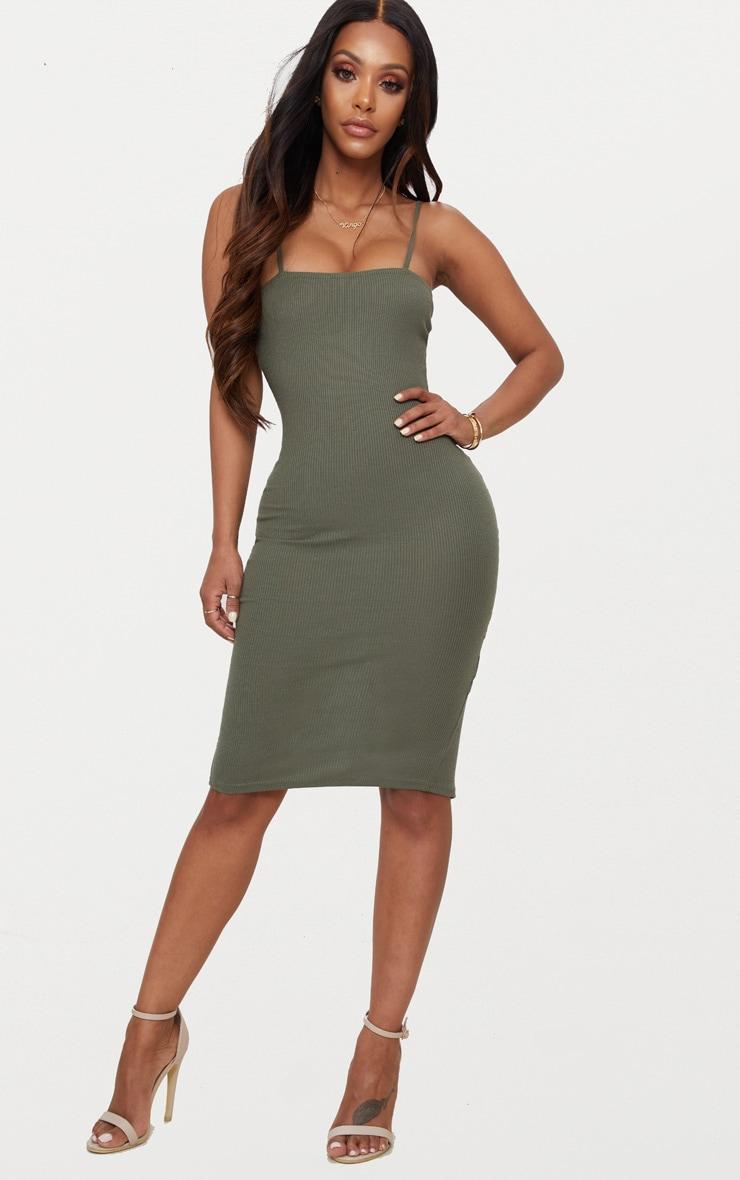Shape Khaki Ribbed Square Neck Midi Dress 2