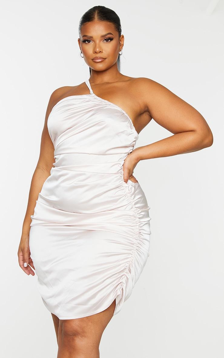 Plus Baby Pink Satin Asymmetric Bodycon Dress 3