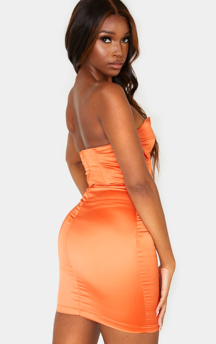 Orange Bandeau Binding Cup Detail Bodycon Dress 2