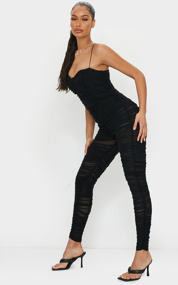 Black Mesh Ruched Cup Detail Jumpsuit 3