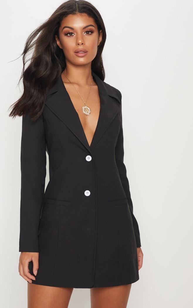 Black Plunge Contrast Button Blazer Dress by Prettylittlething