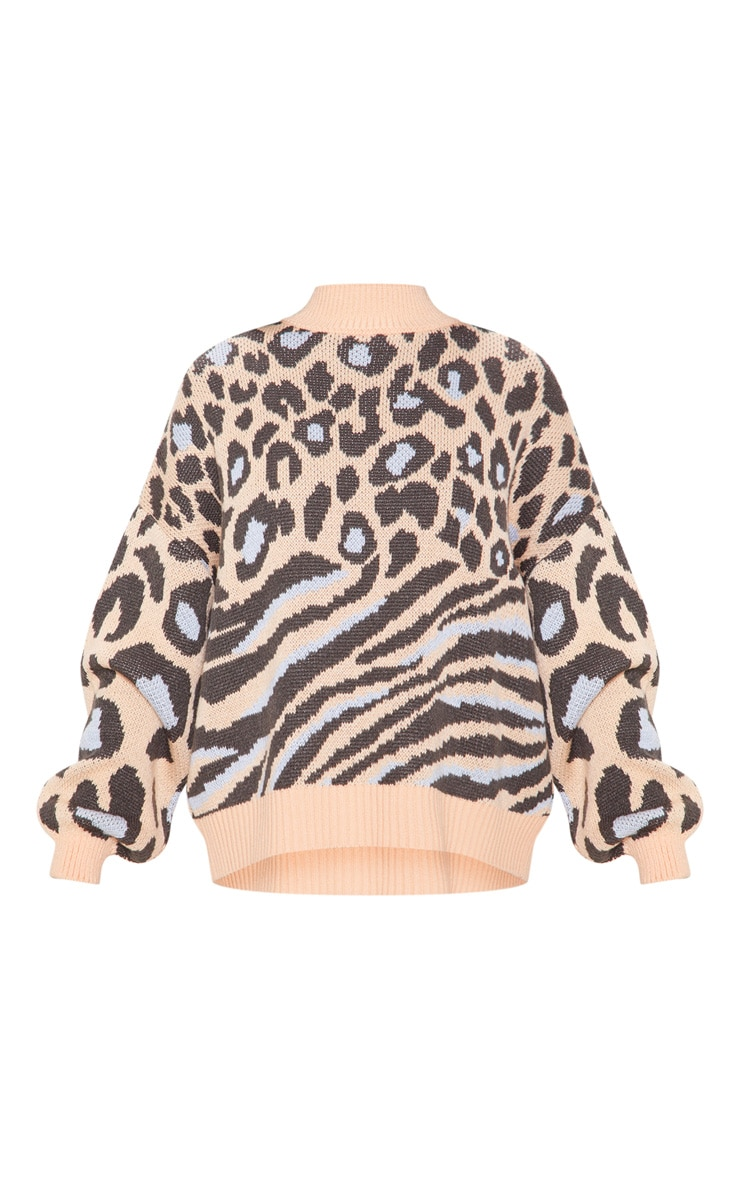 Peach Mixed Animal Print Knitted Sweater 3