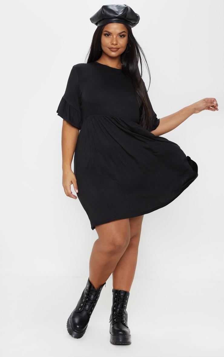 Plus Black Frill Detail Smock Dress 4