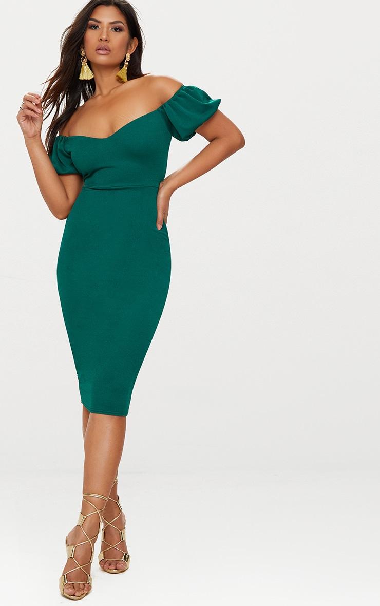 Emerald Green Balloon Sleeve Bardot Midi Dress 4