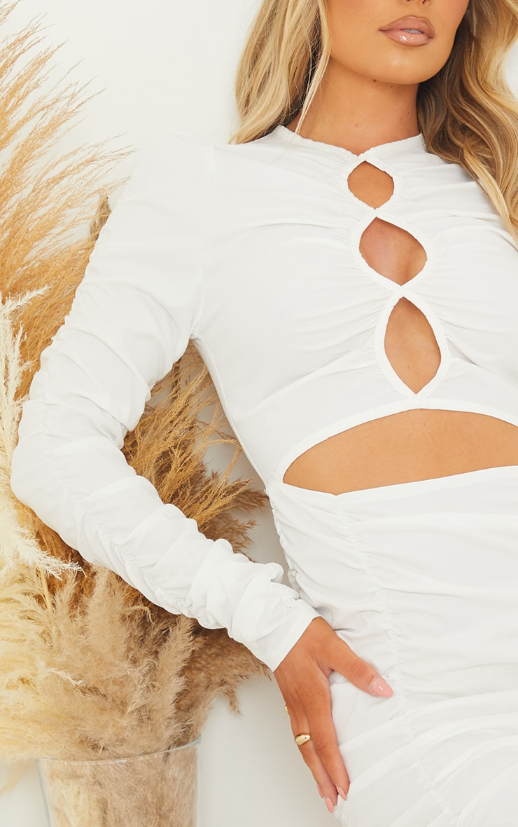 White Woven Ruched Multi Keyhole Cut Out Long Sleeve Bodycon Dress 4
