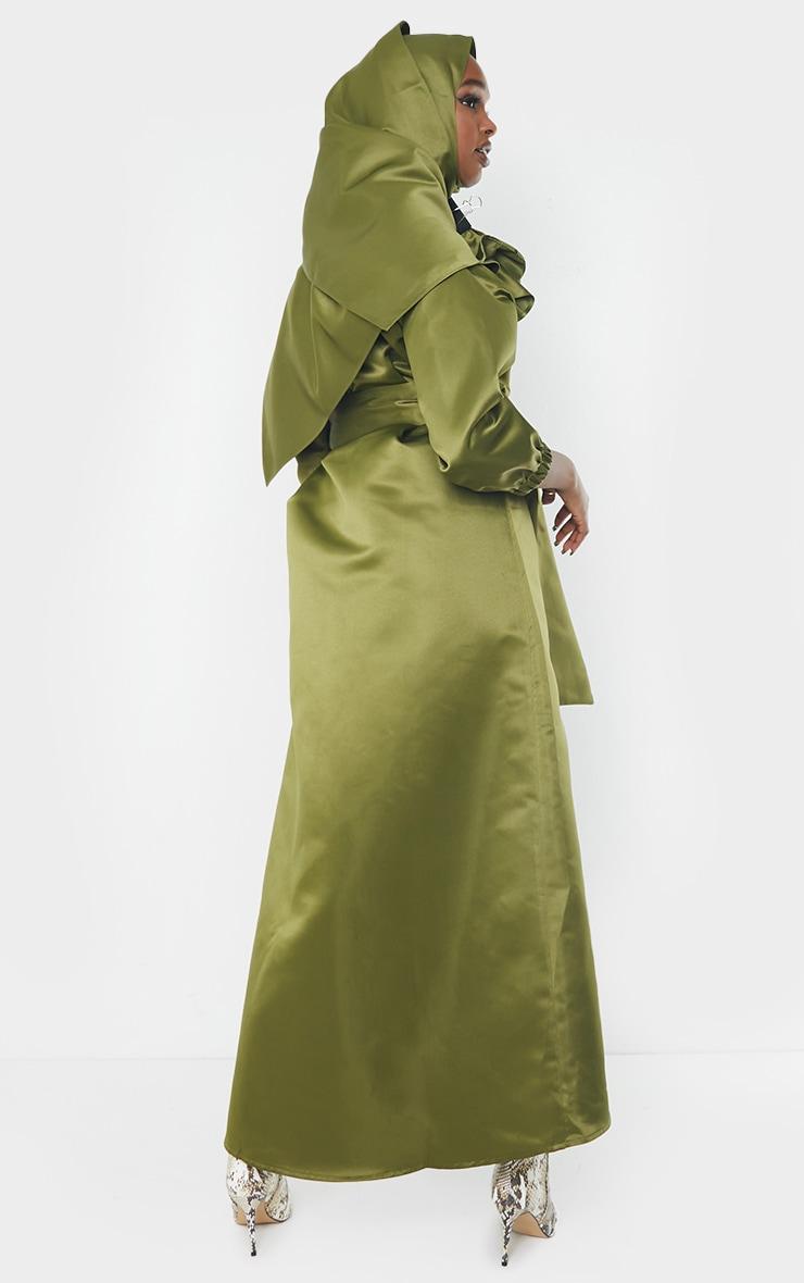 Khaki Satin Tie Front Asymmetric Top 2