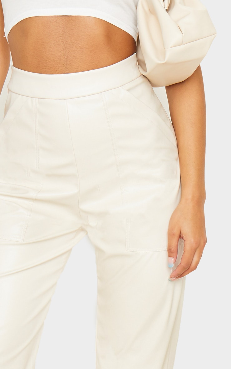 Cream Pocket Detail Faux Leather Straight Leg Trouser 5