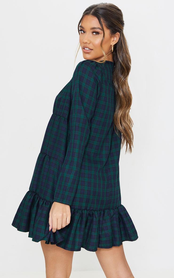 Green Check Tiered Hem Long Sleeve Shift Dress 2
