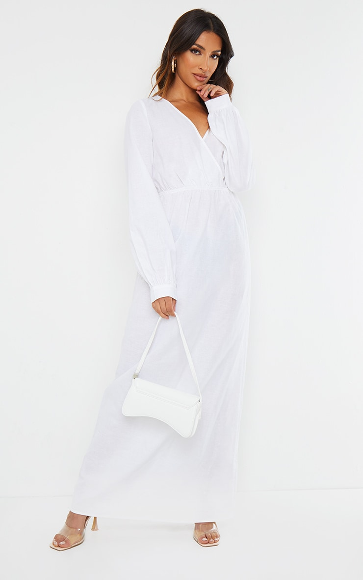 White Woven Elastic Waist V Neck Maxi Dress 1