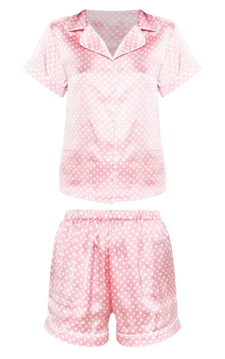 Ensemble de pyjama satiné rose à pois 3