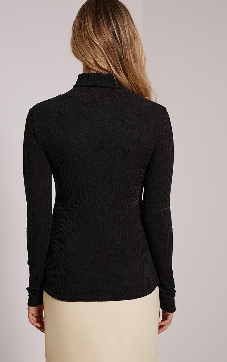 Delty top à col roulé côtelé tricoté noir 2