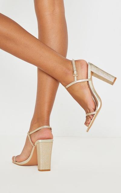 Gold Block Heel Twin Strap Slingback Sandal