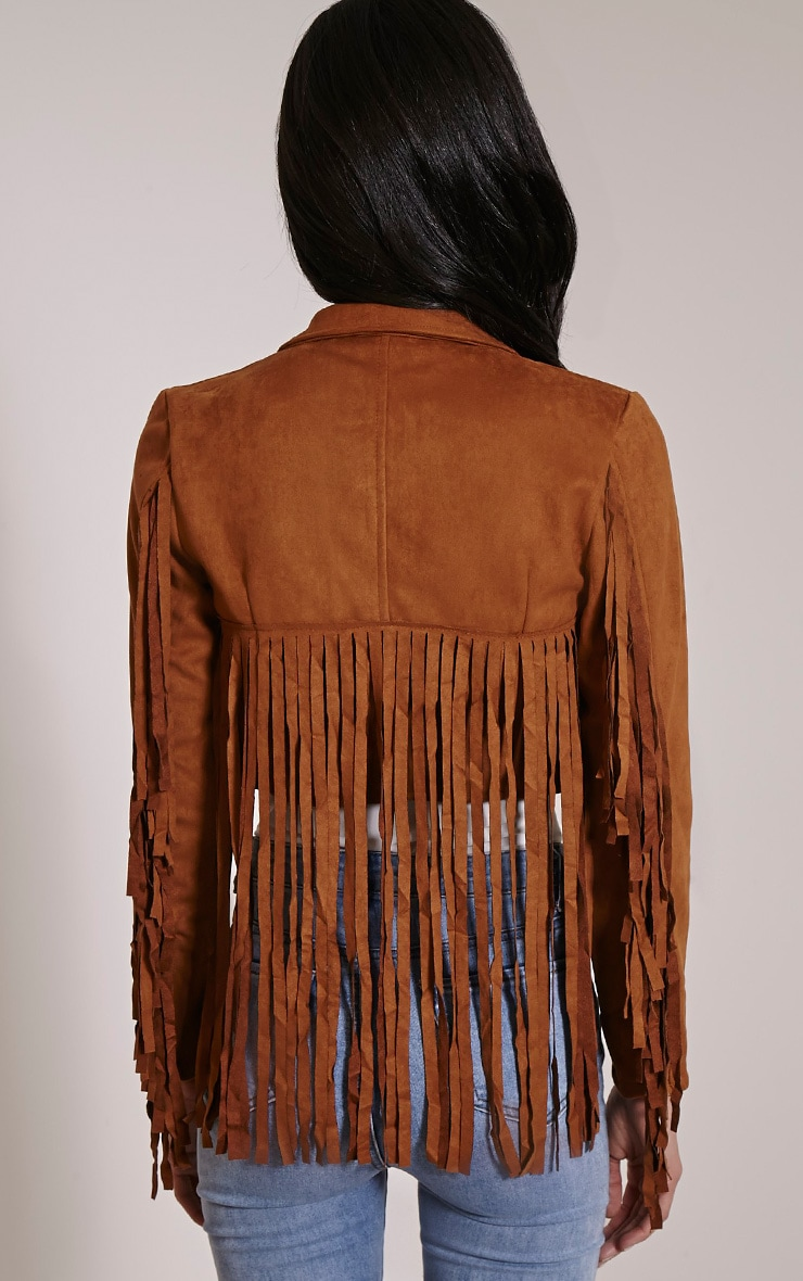 Harriet Tan Faux Suede Biker Jacket 2
