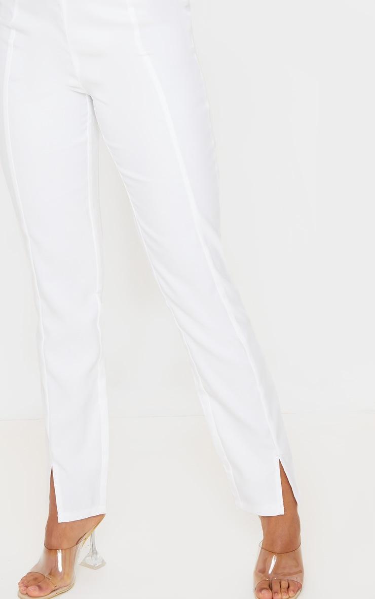 White Straight Leg Woven Suit Pants 5