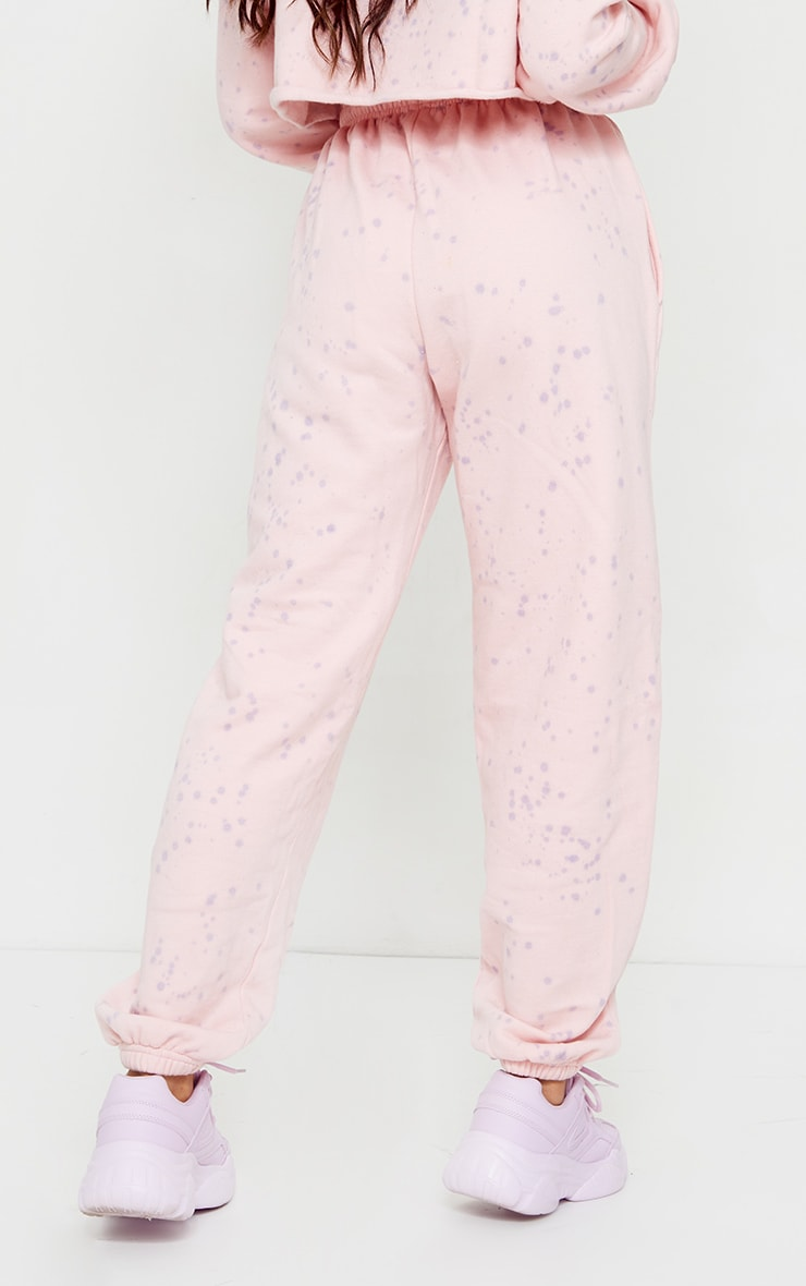 Petite Pink Acid Wash Paint Splatter Joggers 3